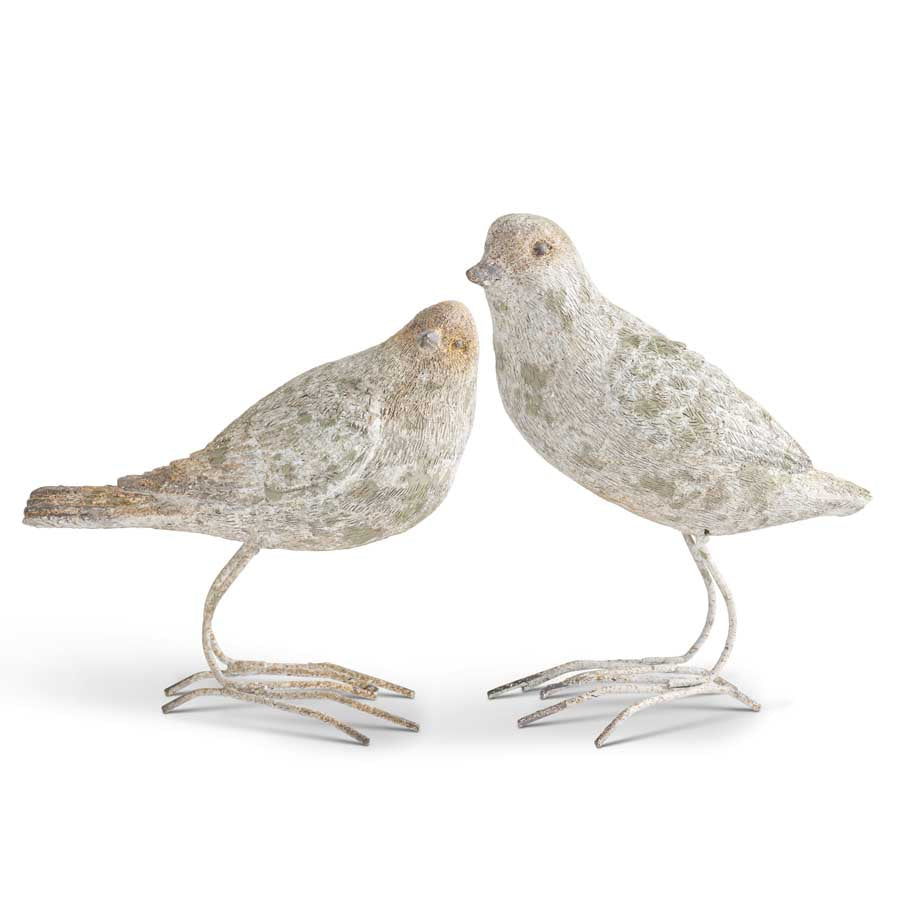Assorted Patina Finished Resin Birds w/Metal Feet (2 Styles)