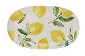 Stoneware Plate with Lemons