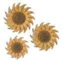 Set of 3 Distressed Golden Yellow Metal Wall Sunflowers (Grad Sizes)