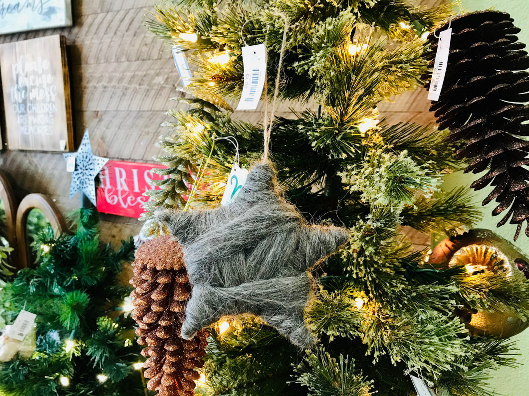 Grey Wool Wrapped Star Ornament