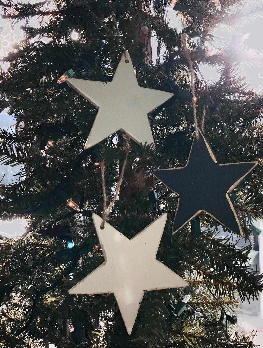 Medium Wooden Star Ornament, Pack of 3