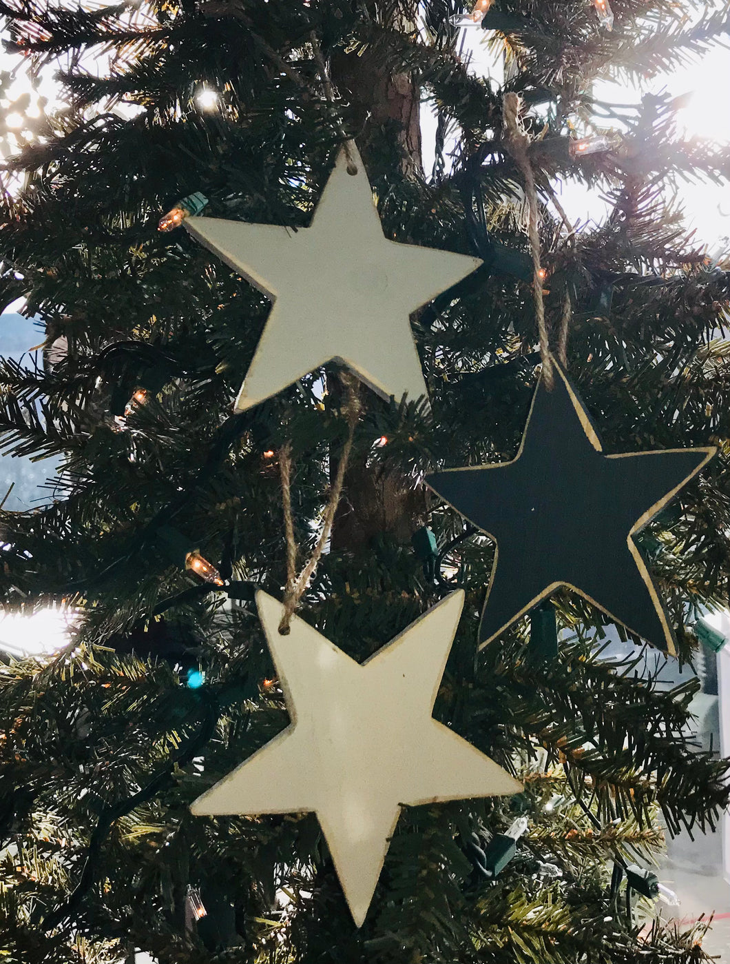 Large Wooden Star Ornament, Pack of 3