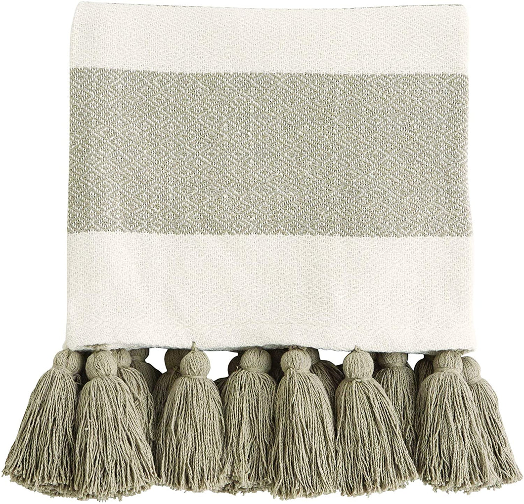 Tan Tassel Throw Blanket