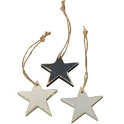Small Wooden Star Ornament, Pack of 3