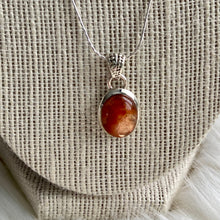 Load image into Gallery viewer, Valhalla Sunstone & Silver Necklace - Medium Embellished Oval
