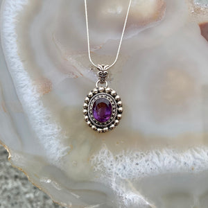 Classic Silver Amethyst Necklace
