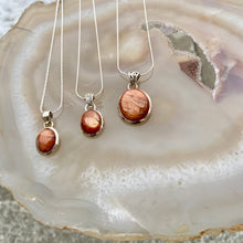 Load image into Gallery viewer, Valhalla Sunstone & Silver Necklace - Large Radiant Round Pendant