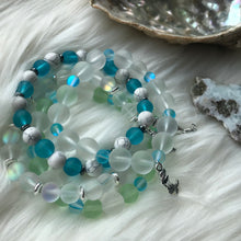 Load image into Gallery viewer, Green & White Sea Glass + Mermaid Glass Bracelet