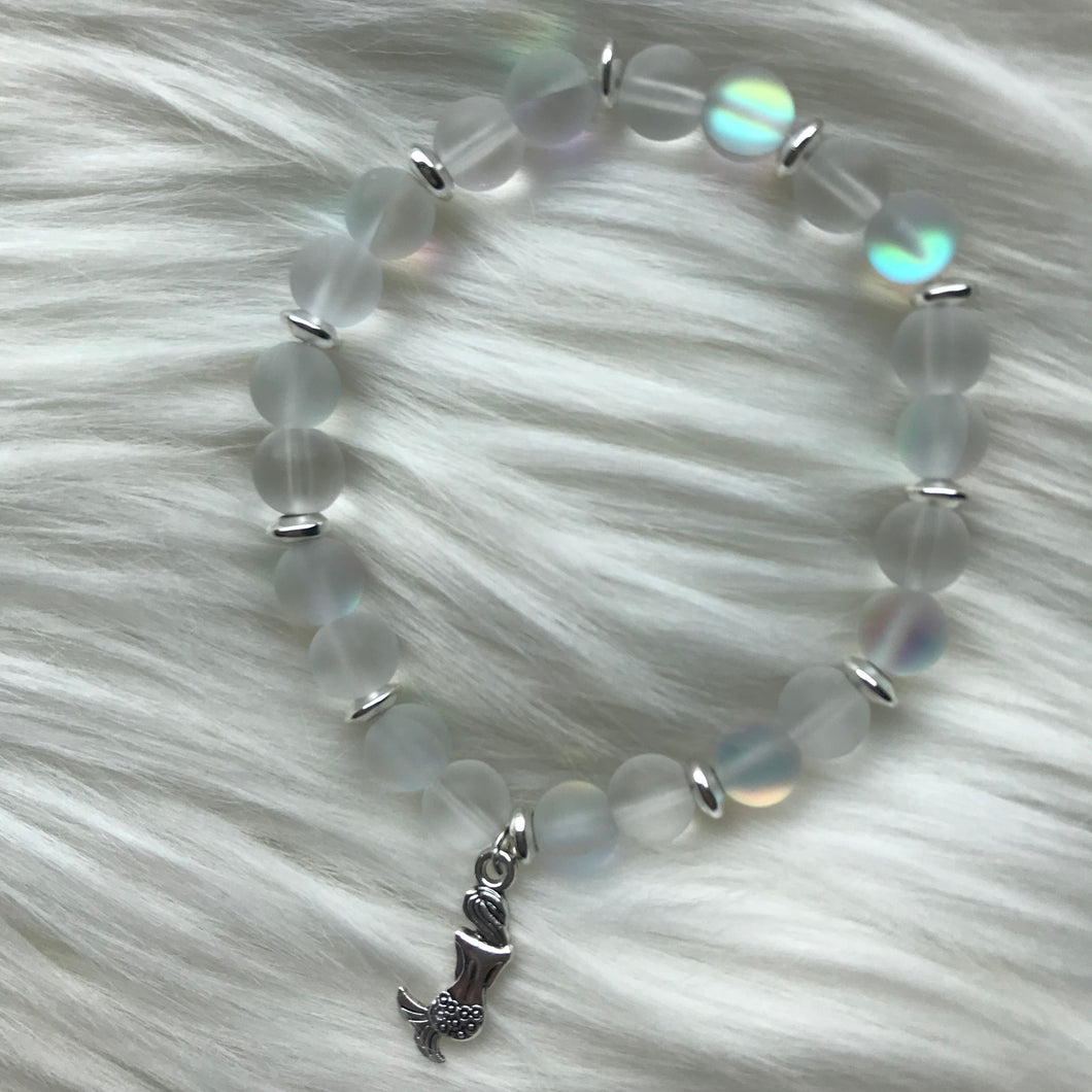 White Sea Glass & White Mermaid Glass Bracelet