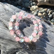 Load image into Gallery viewer, Venus Rose Quartz & Mermaid Glass Bracelet