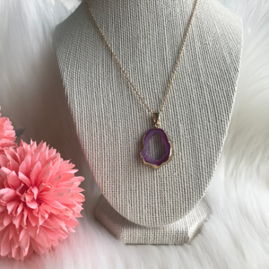 Pink Agate Druzy Necklace #5