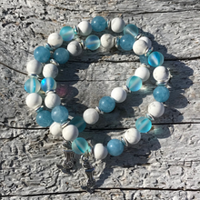 Load image into Gallery viewer, Soothing Aquamarine, Mermaid Glass, & Howlite Bracelet