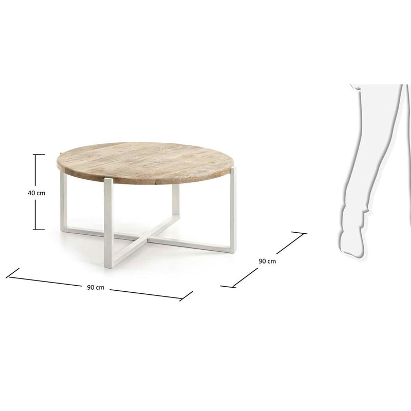 "Table Basse Design en Bois ""Petunia"" Naturel & Blanc 4"