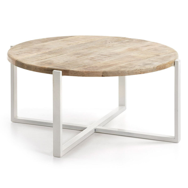 "Table Basse Design en Bois ""Petunia"" Naturel & Blanc"