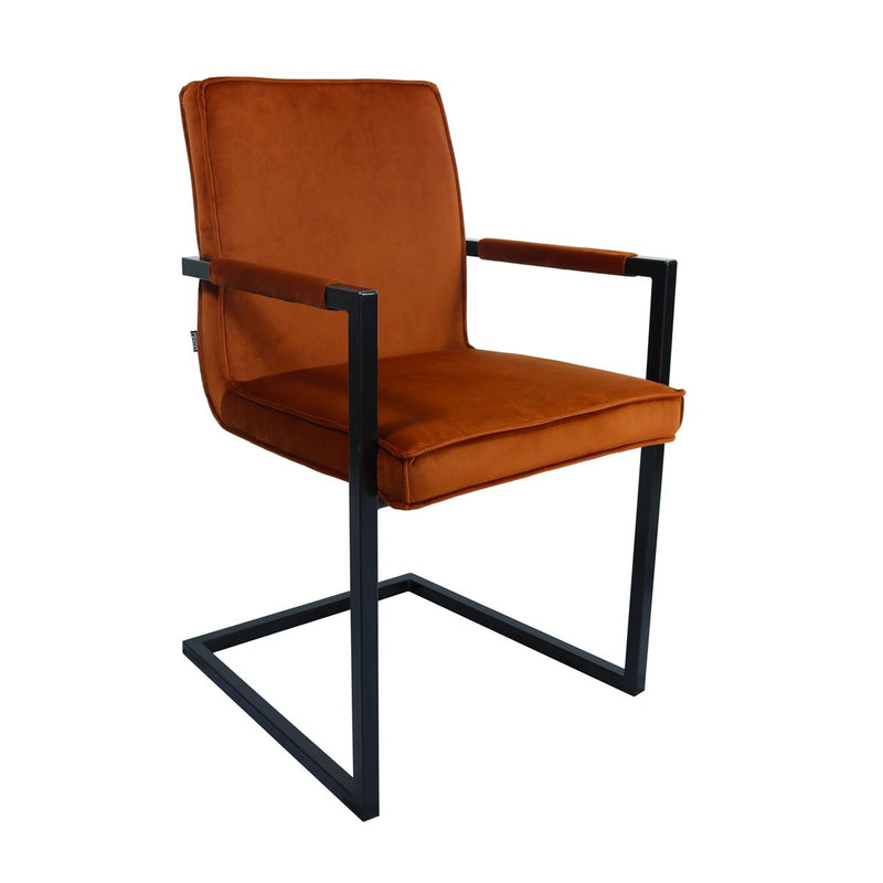 Set de 2 chaises industrielles en velours orange Nat.