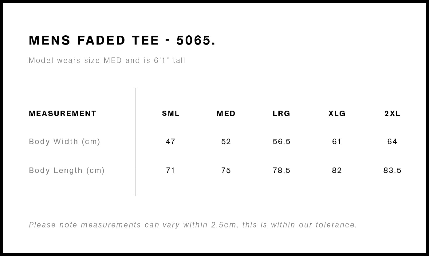 Hendriks Embroidered Tee Size Chart