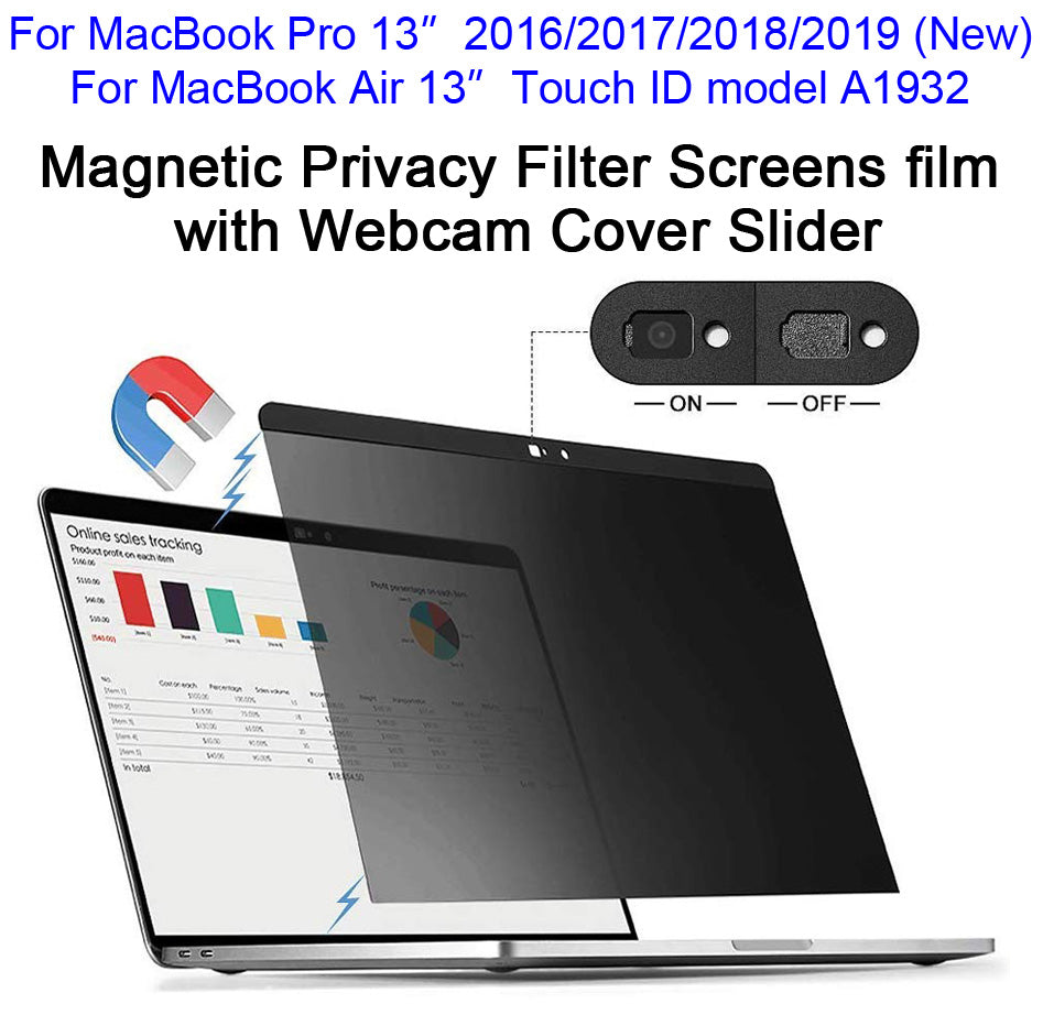 Magnetic Anti-Spy Privacy Filter Screens film with Webcam Cover Slider For New MacBook 13