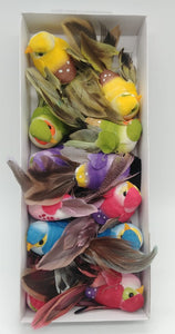 "Feather Birds- Assorted Colors, 3"" Length - 12 Count"
