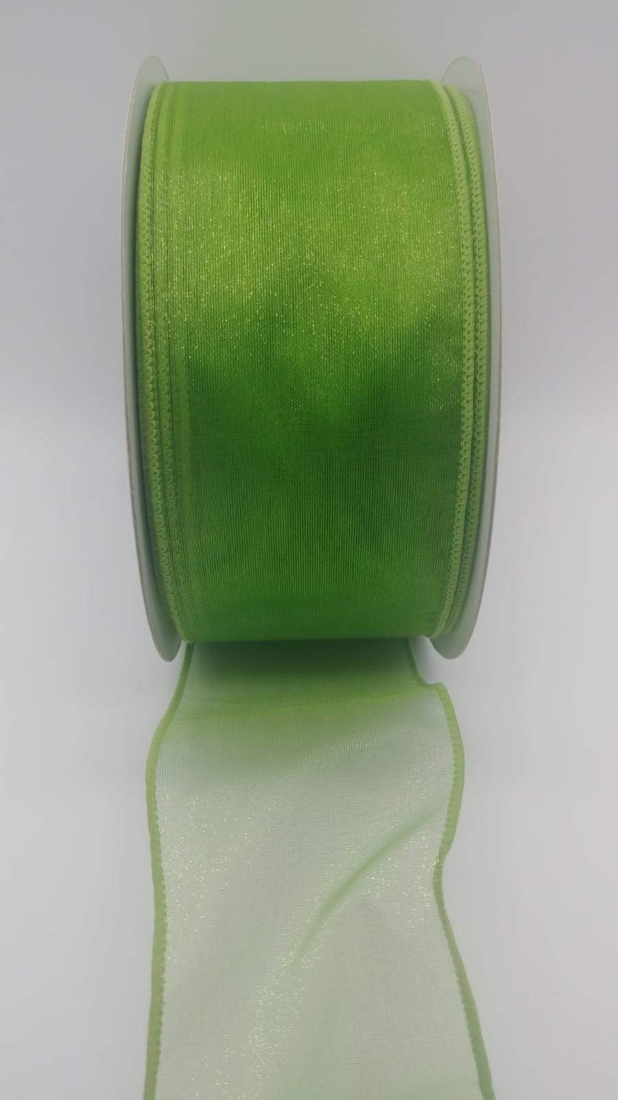 #40 Wired Sheer Ribbon- Apple Green