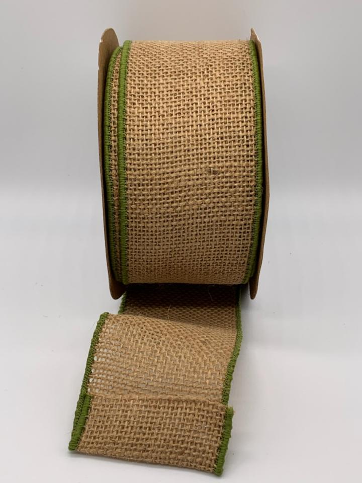 #40 Wired Burlap w/Moss Green Edge