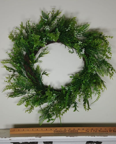 Mixed Grass Wreath, Greenery w/ Small White Bloom Accents-- 22