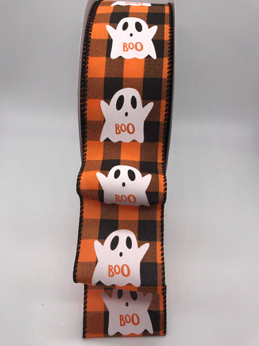 Orange & Black Halloween Buffalo Plaid Ribbon