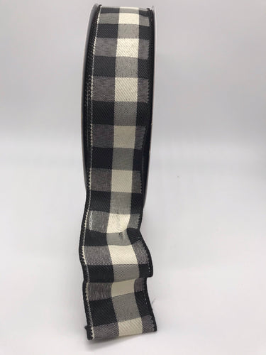Buffalo Plaid Ribbon in Ivory & Black