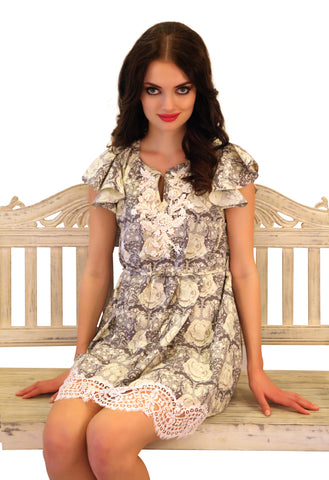 Candytuft Liberty print dress with French lace
