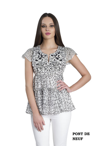 Biarritz silk chiffon top with black and white French lace