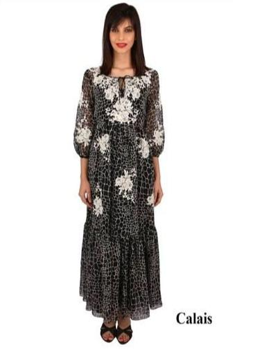 Calais French lace chiffon maxi