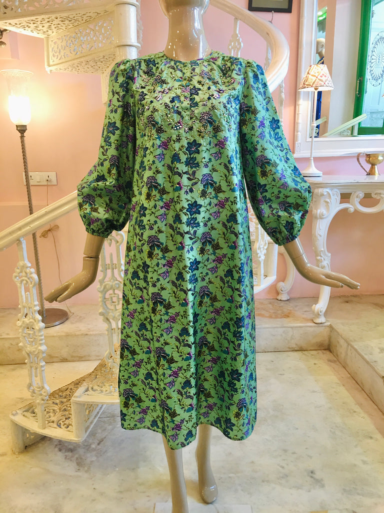 Leaves of Grass, New York Pembroke printed silk dress