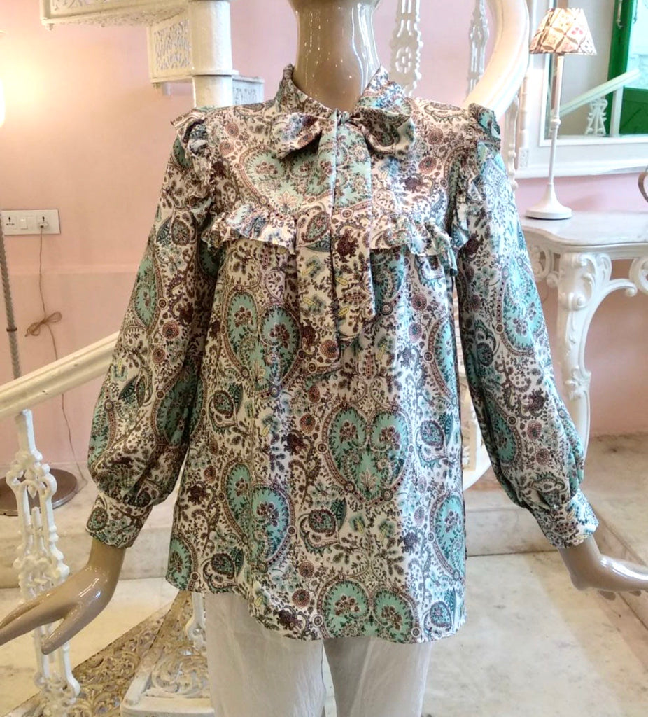 Liberty print blouse with bow