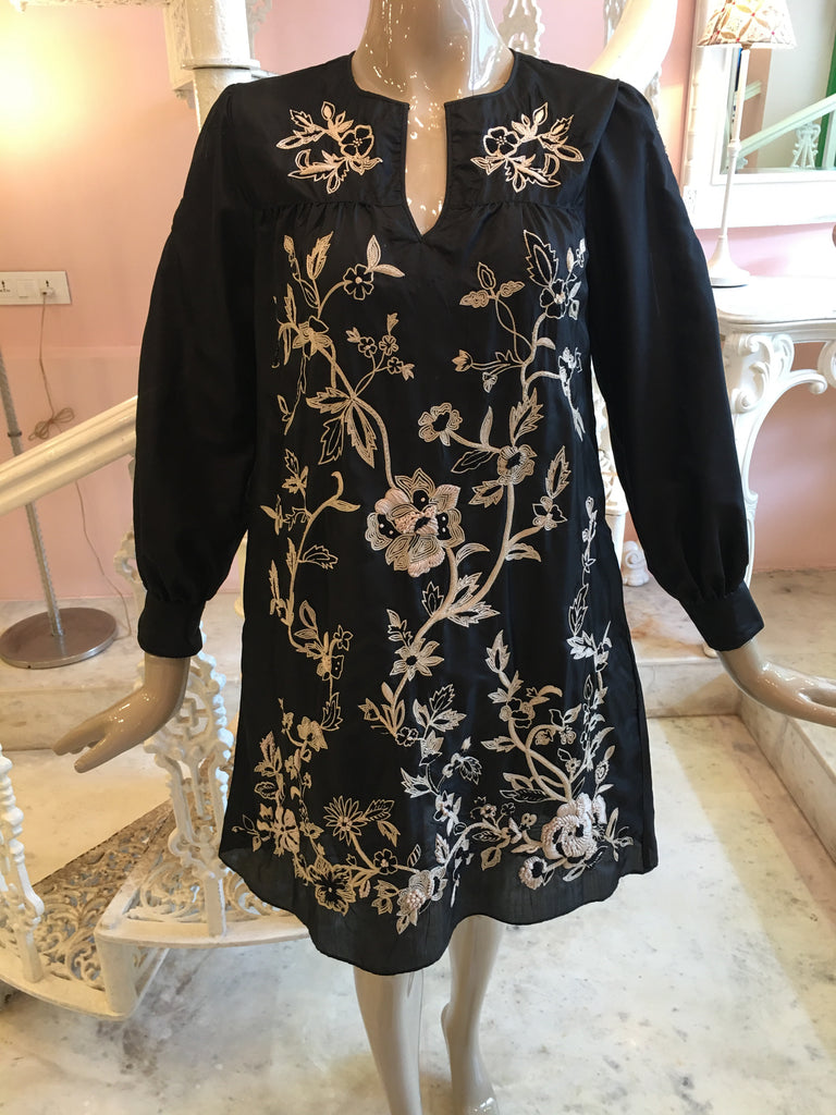 Black and beige hand embroidery dress