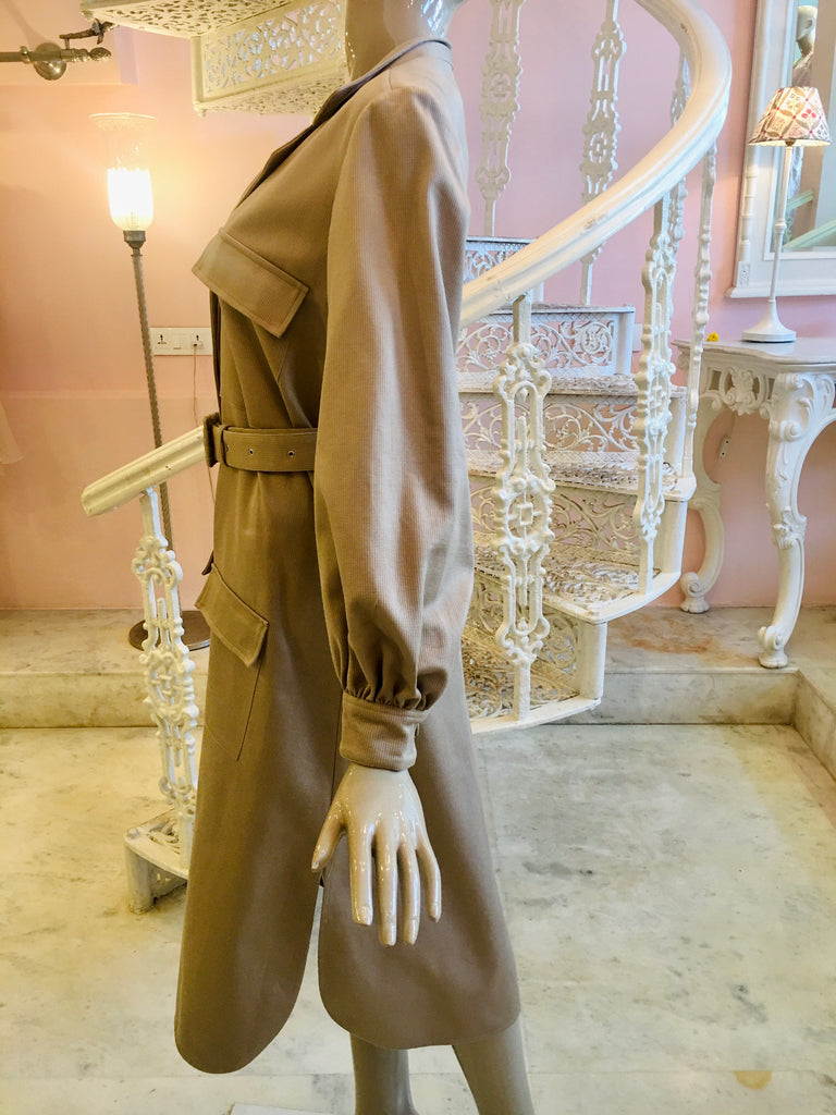 Leaves of Grass, New York Goodwood utilitarian trench dress in beige
