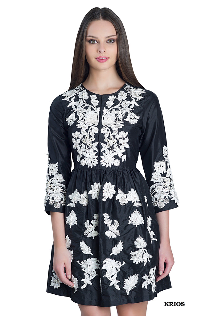 Krios silk hand embroidered dress-can be ordered midi length