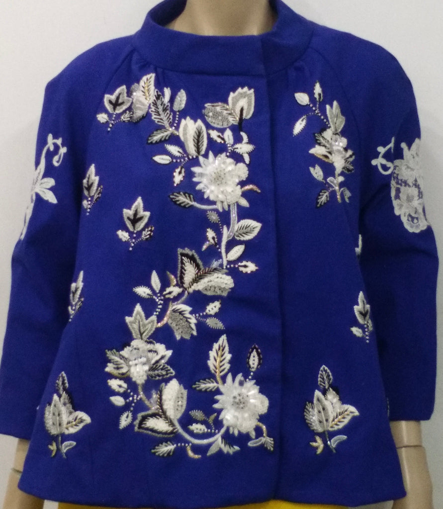 Maggiore cobalt blue French lace trapeze jacket