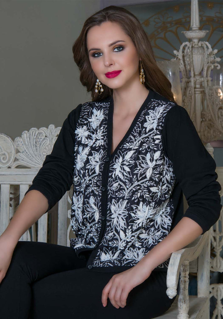 Leaves of Grass, New York Cavendish silk and jersey handprinted  and hand beaded cardigan