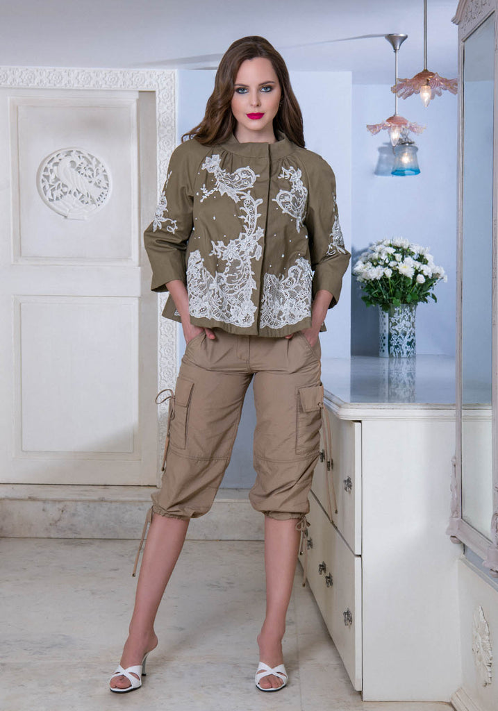 A line French lace trapeze jacket