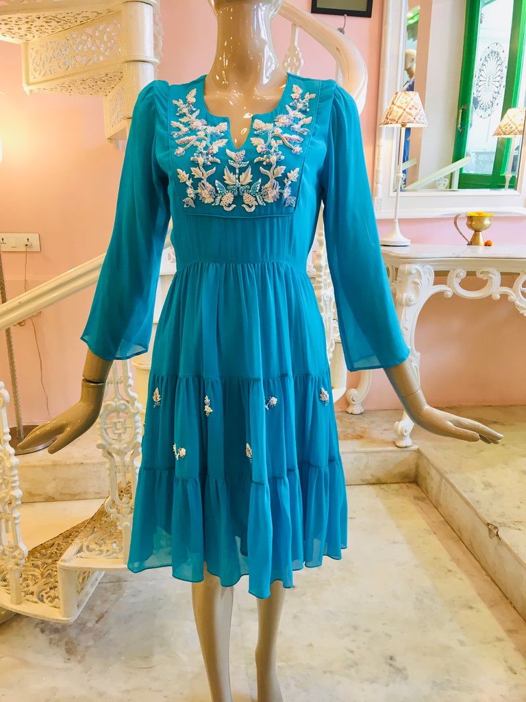 turquoise blue silk chiffon dress