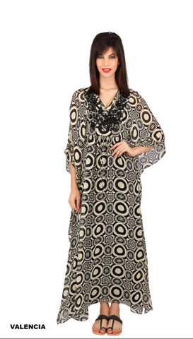 Valencia silk georgette hand beaded kaftan
