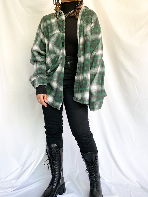 Vintage Green & White Flannel