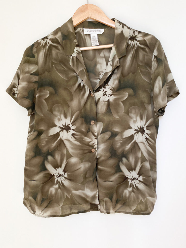 Vintage 100% Silk Floral Button-Down