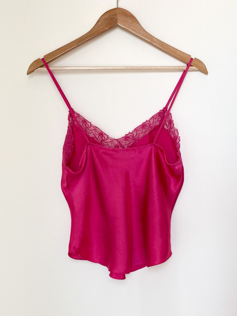 Vintage Hot Pink Silky Cami