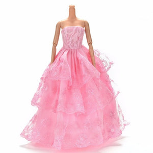 Colorful Elegant Handmade Summer Bridal Gown Princess Dress Clothes Wedding Party Dress For Barbie Doll Acessories