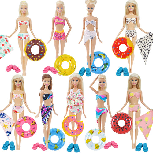 1x Doll Swimwear Beach Bathing Clothes Lovely Bikini Swimsuit + Random 1x Swimming Buoy Lifebelt Ring for Barbie Doll Girl Toy