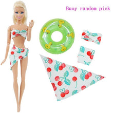 Load image into Gallery viewer, 1x Doll Swimwear Beach Bathing Clothes Lovely Bikini Swimsuit + Random 1x Swimming Buoy Lifebelt Ring for Barbie Doll Girl Toy