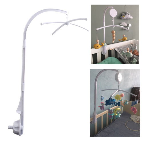 Baby Crib Holder White Rattles Arm Bracket Set Cot Fold 360 Degree Rotating Cribs Clamp Bed Bell Mobile Wind-up Music Box Toys