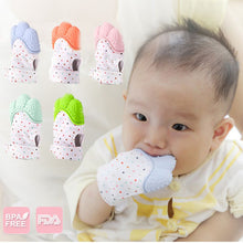 Load image into Gallery viewer, Baby Silicone Mitts Teething Mitten Glove Sound Teether Newborn Chewable Nursing Mittens Teether Natural stop Sucking Thumb Toy