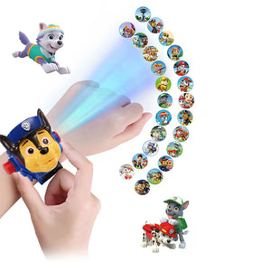 Paw patrol toys set 3D Projection watch Action figure Birthday Anime figure Patrulla Canina Toy Gift