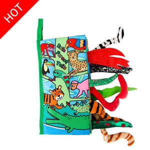 Baby Toys Infant Baby Book Early Development Cloth Books For Kids Learning Education Activity Books Animal Tails Dinosaur SZ04